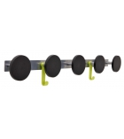 Patères murales 5 positions ALBA - acier et plastique ABS - noir