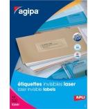 Boîte de 100 feuilles de 2400 étiquettes laser invisibles APLI - 130143 - 70 x 37 mm