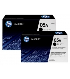 Pack 2 cartouches laser noires HP 2x2300 pages - CE505D - 05D