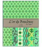 Lot de 6 feuilles de papier indien 27,8 x 21,6 cm - turquoise/vert/or