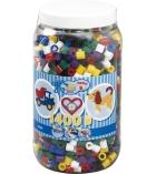 Pot d'environ 1400 perles maxi à repasser plusieurs tailles - assortiment couleurs vives