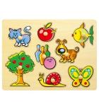 Puzzle bois à gros boutons 8 pièces Les sujets familiers dès 18 mois