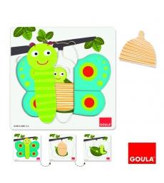 Puzzle 3 niveaux GOULA 8 pièces Le papillon dès 2 ans