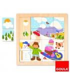 Puzzle bois 16 pièces GOULA Les saisons Hiver dès 2 ans