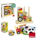 Puzzles 9 cubes en bois GOULA La ferme dès 3 ans