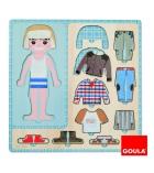 Puzzle bois 10 pièces GOULA personnages à habiller Petit garçon dès 3 ans