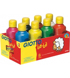 Lotde  8 bouteilles de 250 ml de gouache GIOTTO Bebè Super Paint - assortiment