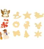 Lot de 12 figurines de Noël en bois à décorer - a suspendre