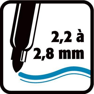 2,2 à 2,8 mm